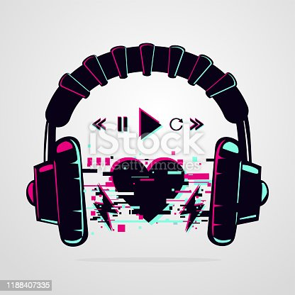 Stereo headphones with glitch effect. Music electronic devise. Night party background. Vector icon.