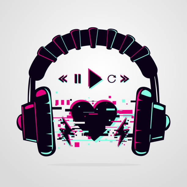 Stereo headphones with glitch effect. Music electronic devise. Vector icon. Night party background. Stereo headphones with glitch effect. Music electronic devise. Night party background. Vector icon. electro music stock illustrations