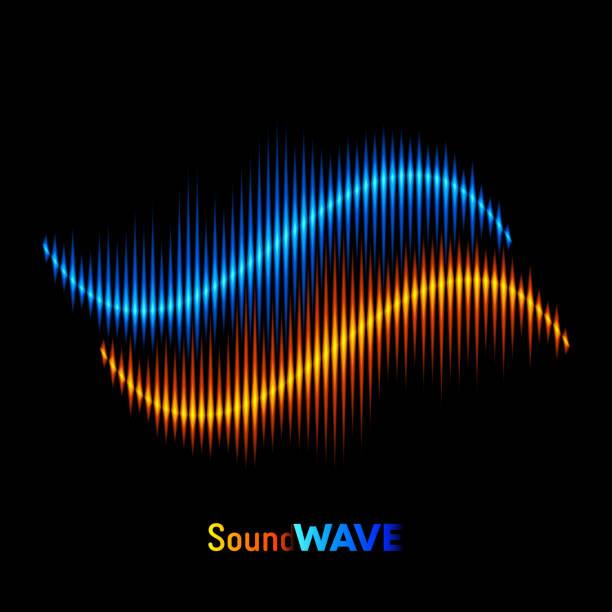 Stereo sound waveform vector art illustration
