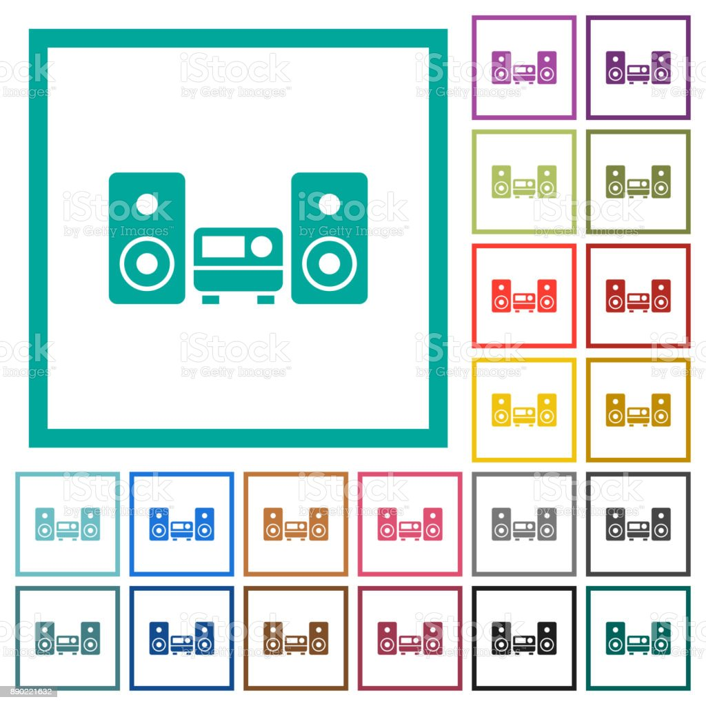 Stereo System Flat Color Icons With Quadrant Frames Stock Vector Art ...