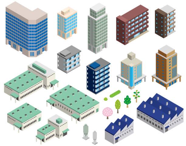 stockillustraties, clipart, cartoons en iconen met stereoscopische illustratie van verschillende gebouwen - warenhuis