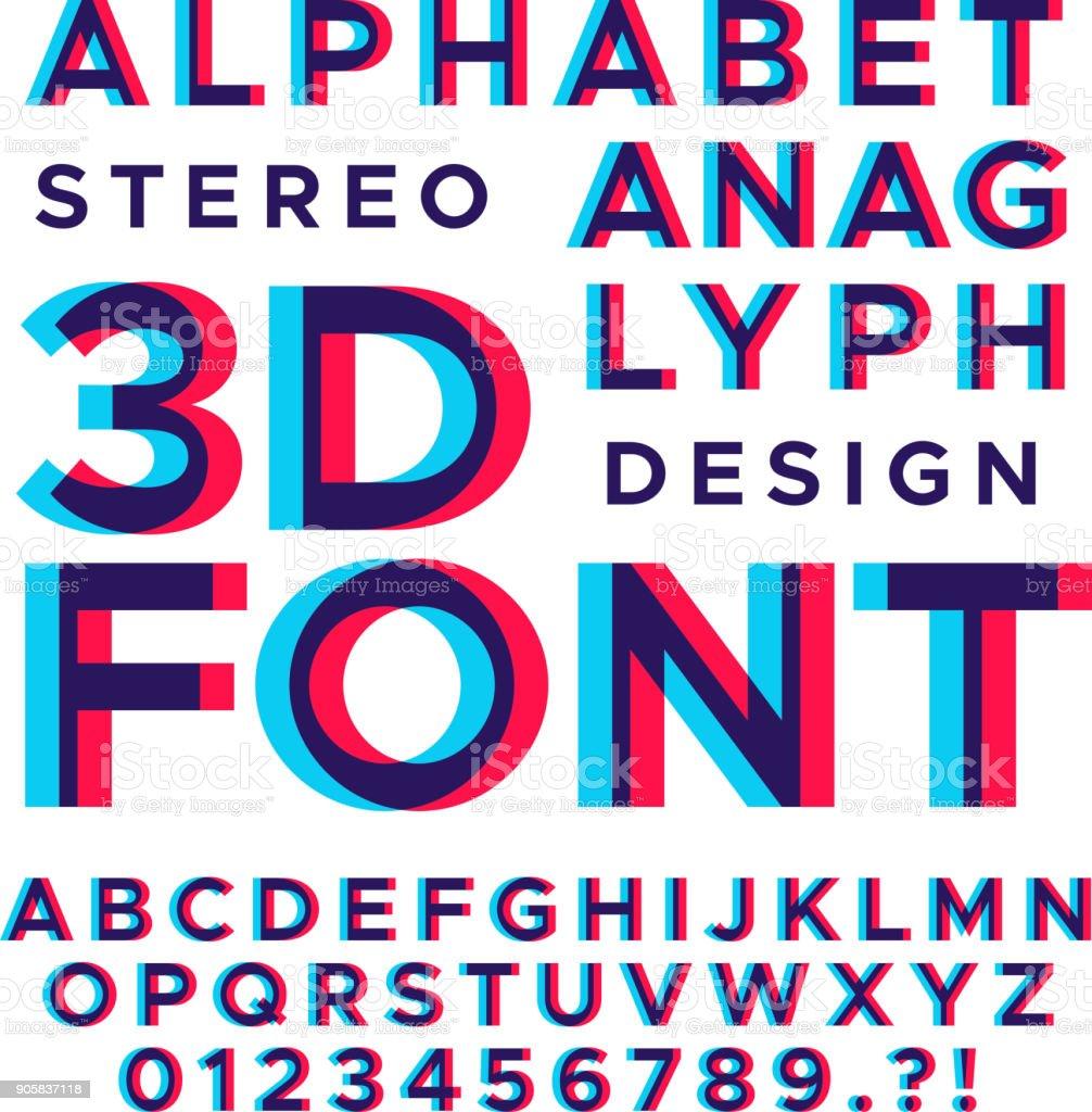 Stéréoscopique stéréo 3d vectorielle lettres et numéros. Alphabet coloré glitch - Illustration vectorielle
