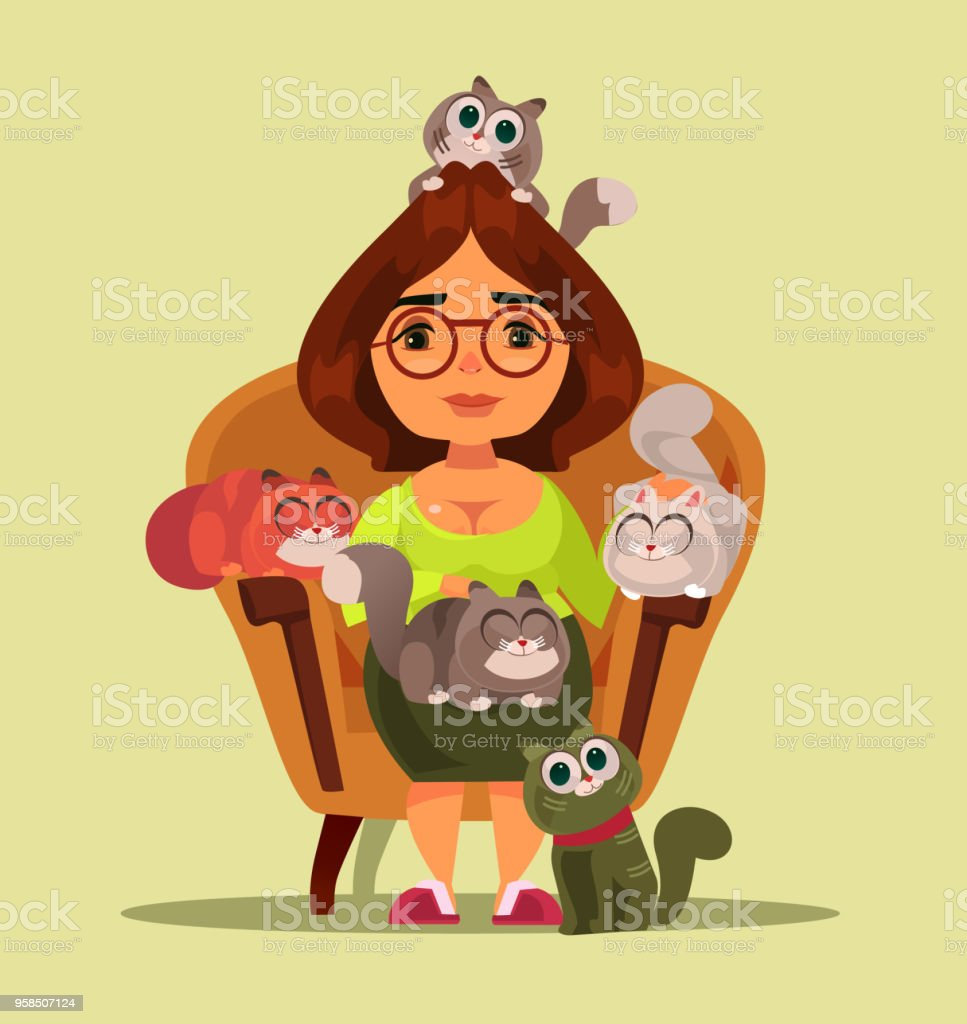 Stereotype independent happy smiling woman sitting on sofa with many cats animals. Cartoon flat isolated illustration vector art illustration