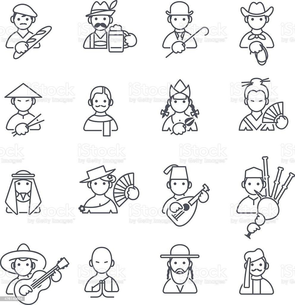 Stereotypen Menschen dünn Symbole – Vektorgrafik