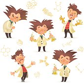 Stereotypic bushy haired mad professor wearing lab coat