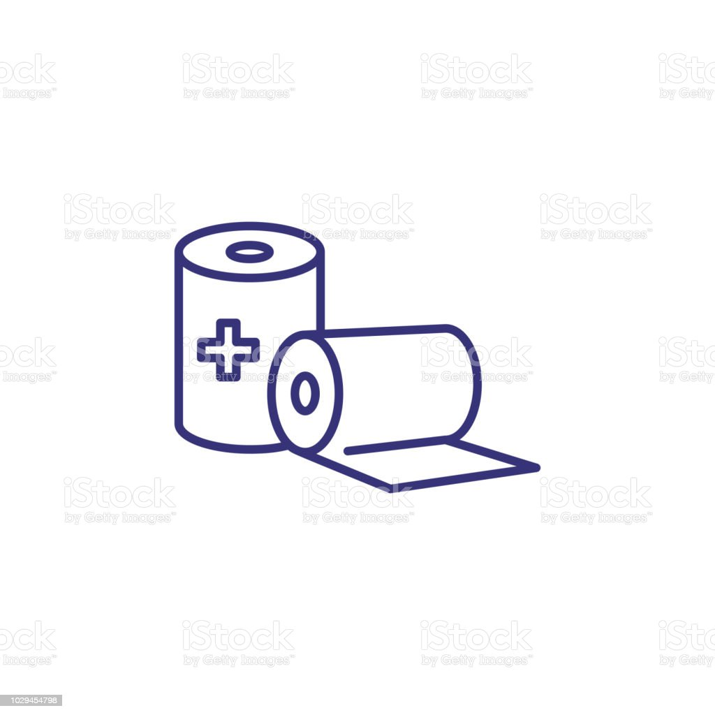 Sterile gauze line icon vector art illustration