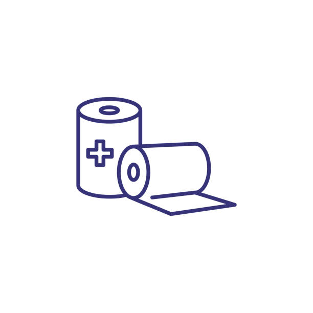 Sterile gauze line icon Sterile gauze line icon. First aid, bandage, injury. Medicine concept. Vector illustration can be used for topics like healthcare, medical care, pharmacy bandage stock illustrations