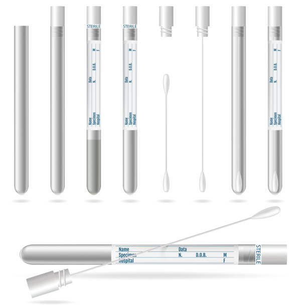 Sterile Transport SWAB. Cotton swabs in plastic tube with cap vector art illustration