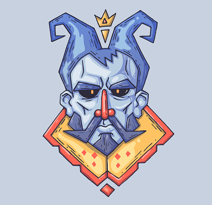 stern face of the fairy-tale king. Cartoon illustration for print and web. Character in the modern graphic style.