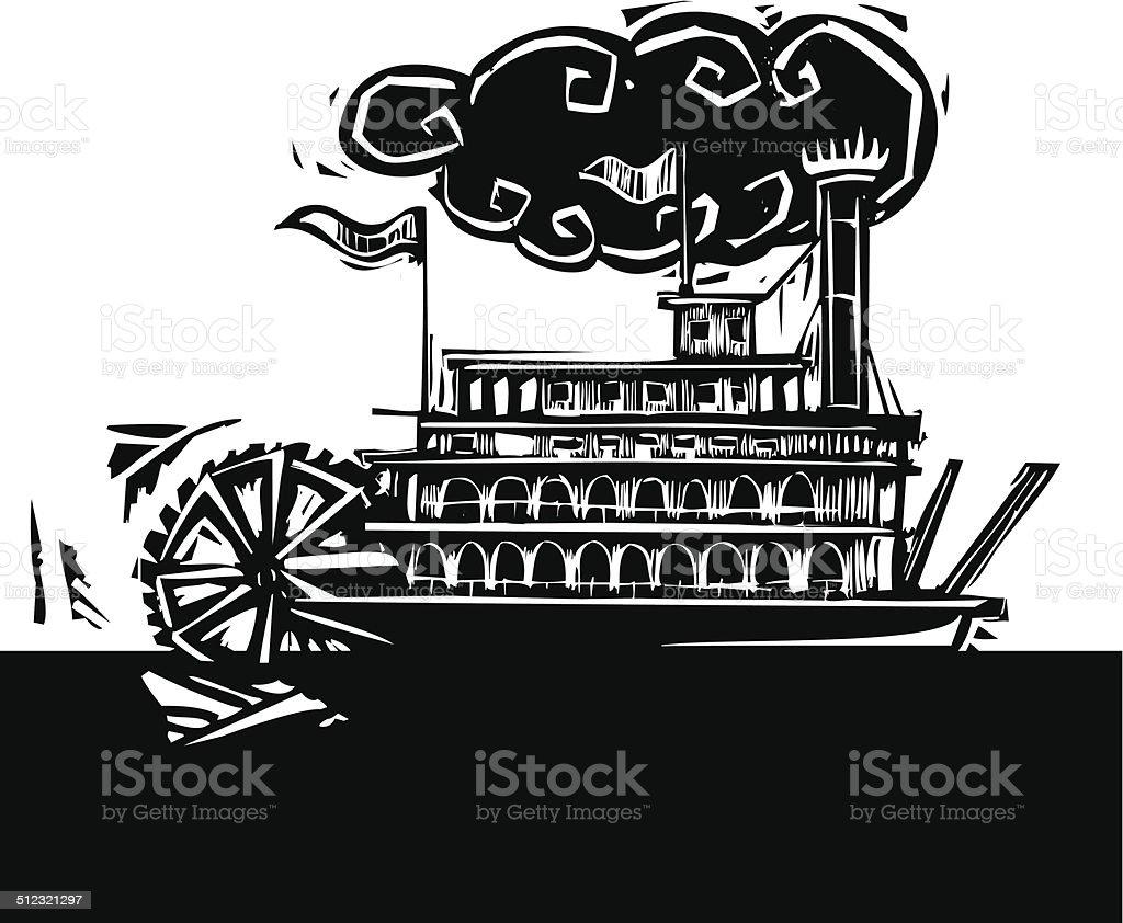Stern wheel Riverboat in dark river vector art illustration