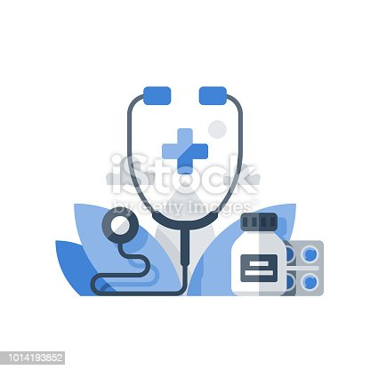 Medical insurance, health care policy, stethoscope and medicine, hospital services, preventive check up, vector flat icon