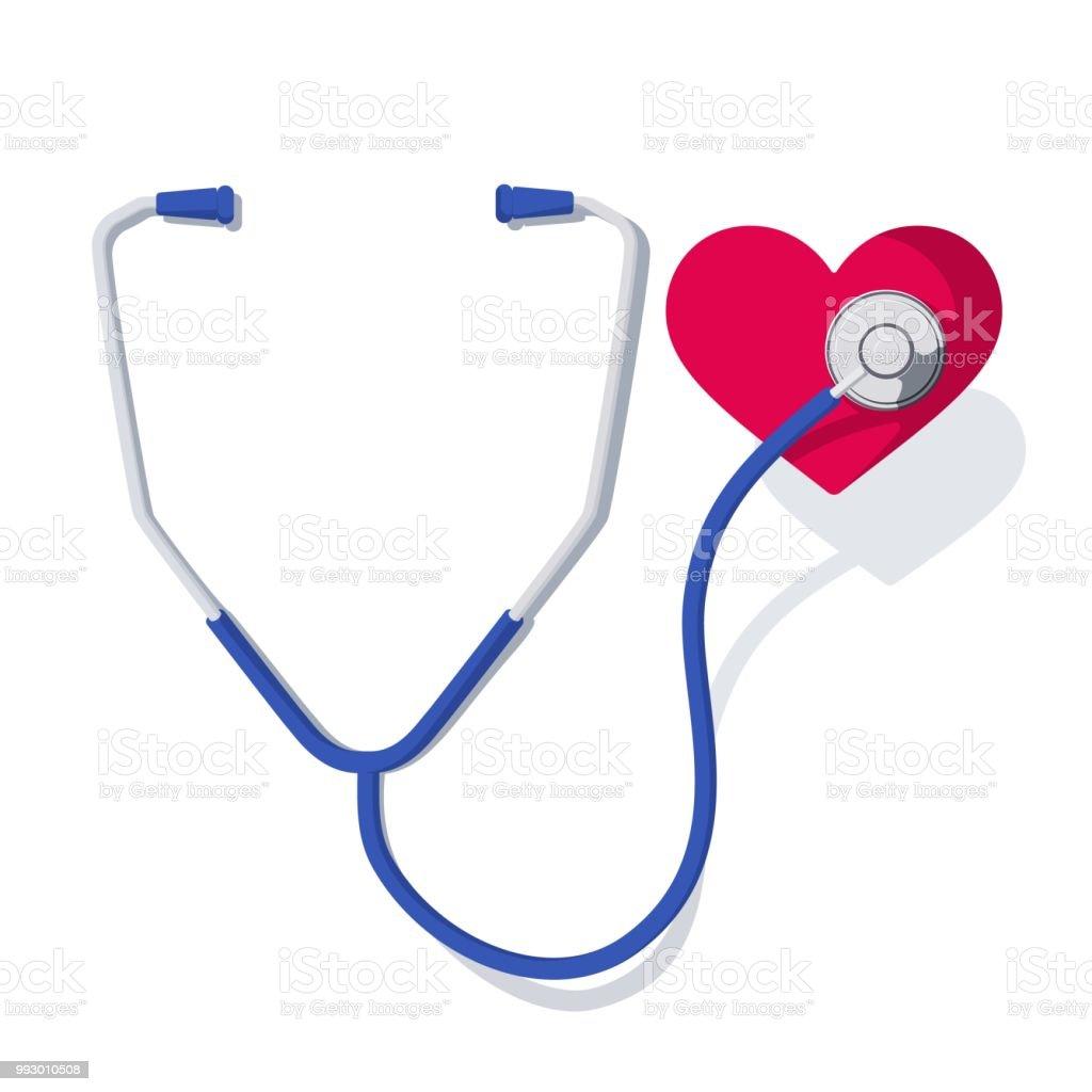 stethoscope and heart 1 векторная иллюстрация