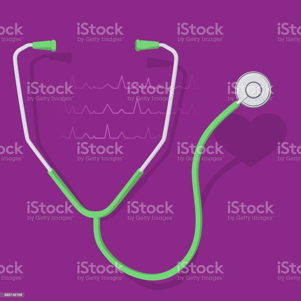 stethoscope and heart 2 векторная иллюстрация