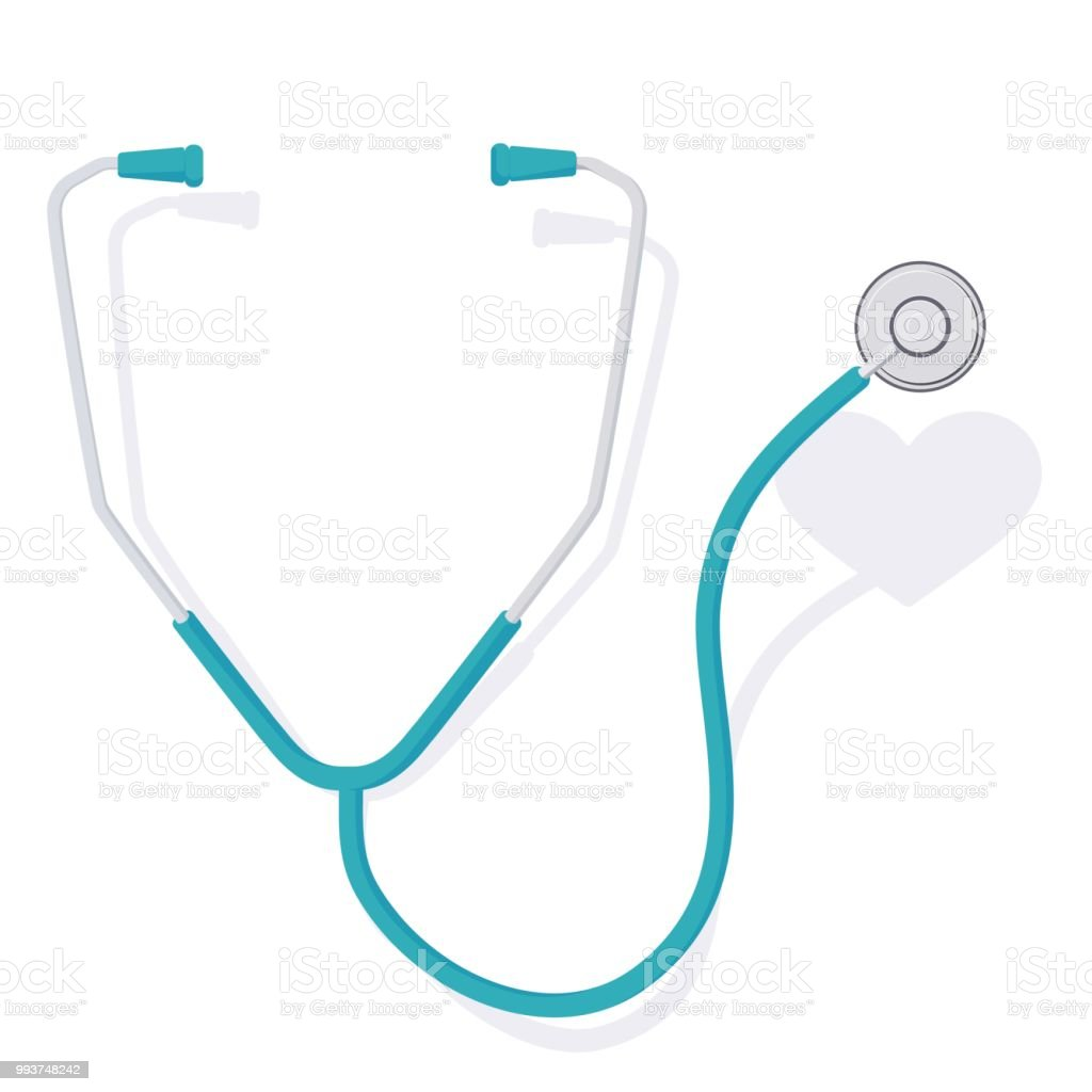 stethoscope and heart 3 векторная иллюстрация
