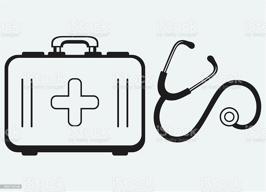 Stethoscope and medicine chest royalty-free stock vector art