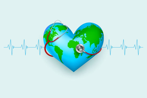 Stethoscope around hearth shaped world vector illustration of stethoscope around hearth shaped world world health day stock illustrations