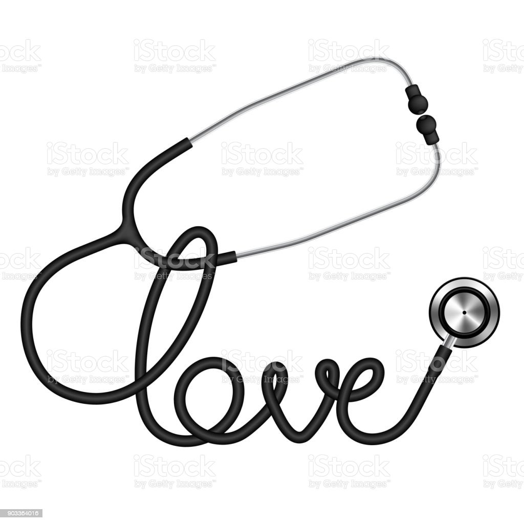 Stethoscope black color and love text made from cable for Stethoscope coloring page