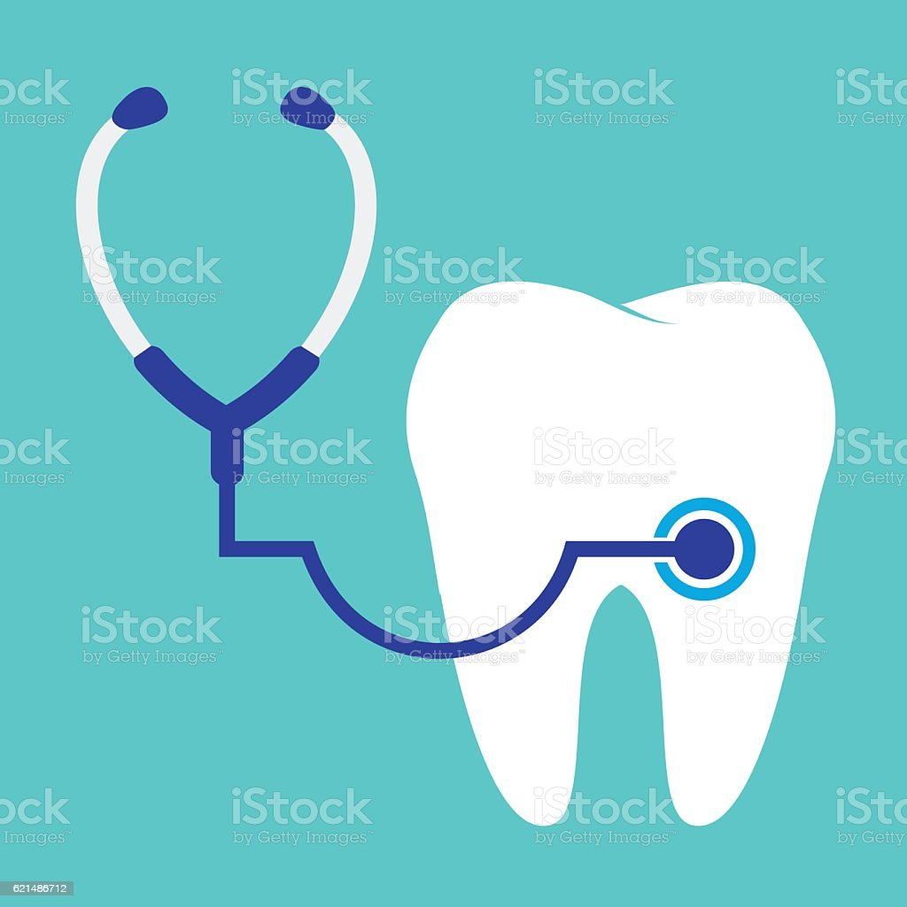 stethoscope examining tooth. stethoscope examining tooth - immagini vettoriali stock e altre immagini di accudire royalty-free