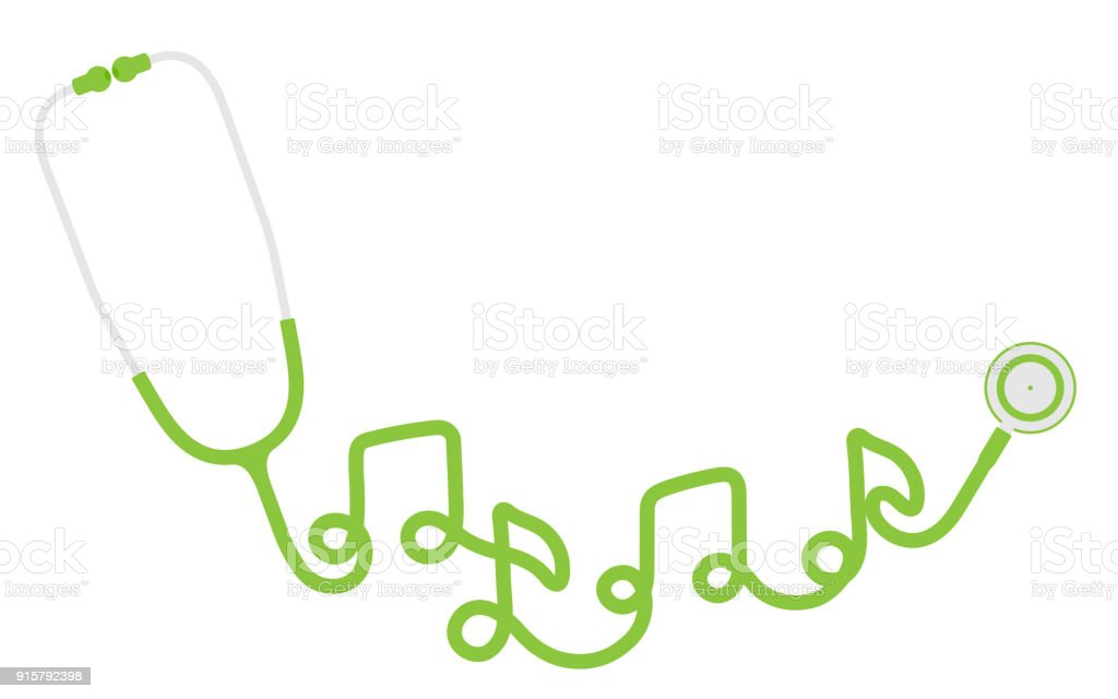 Stethoscope Green Color And Music Note Sign Symbol Made From Cable