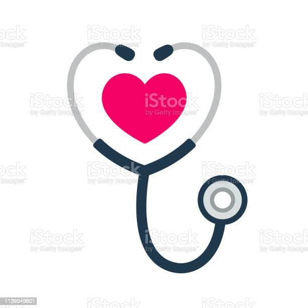 Stethoscope Heart Icon - Arte vetorial de stock e mais imagens de Amor