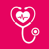 Stethoscope icon with heartbeat. Heart health and cardiology symbol, isolated vector illustration.