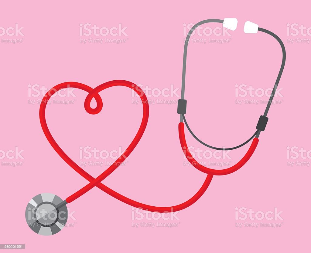 Stethoscope Heart vector art illustration