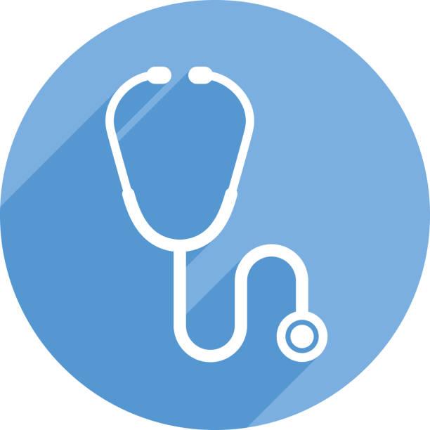 bildbanksillustrationer, clip art samt tecknat material och ikoner med stetoskop ikon silhouette cirkel - kardiolog