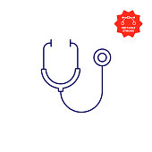 istock Stethoscope Icon with Editable Stroke and Pixel Perfect. 1191928633