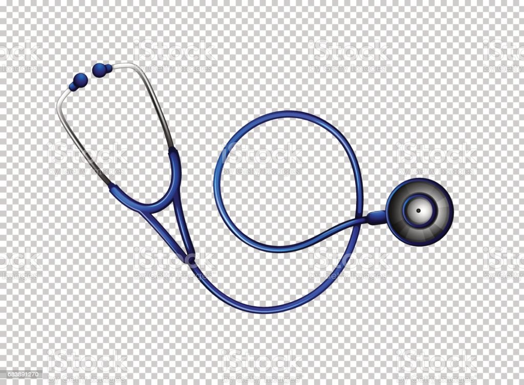 Stethoscope in blue color vector art illustration