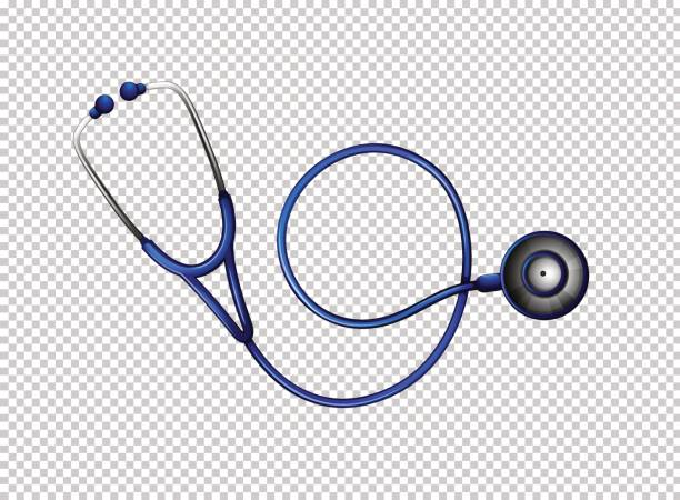 stethoscope in blue color - blue silhouettes stock illustrations