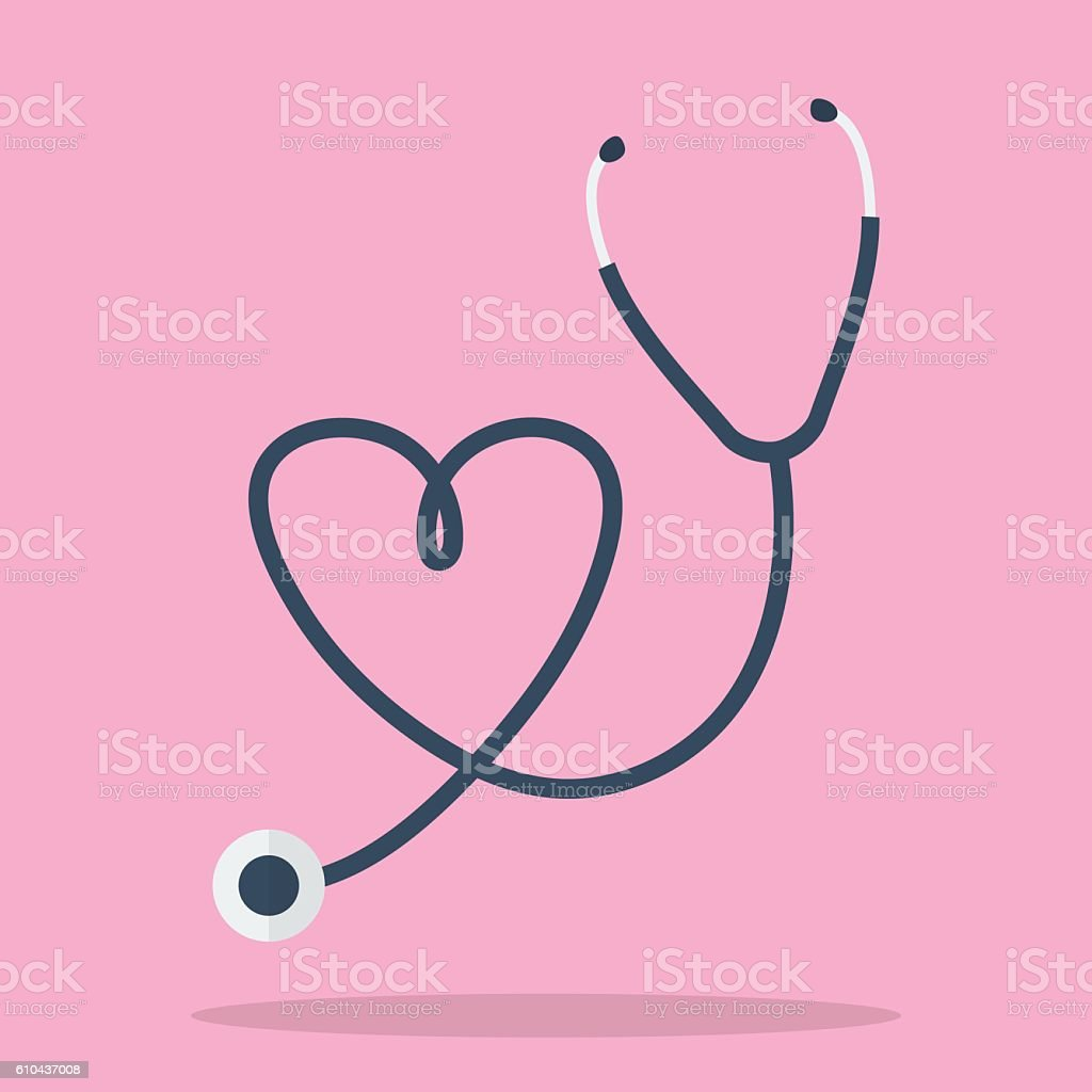 Stethoscope in Shape of Heart vector art illustration