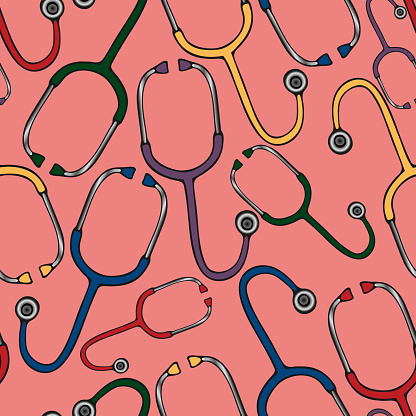 A stethoscope is a medical diagnostic device. Seamless vector pattern. Ornament on an isolated coral background. Cartoon style. Health topics. Doctor's tool.