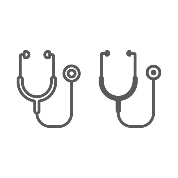 Stethoscope line and glyph icon, health and clinical, medical sign, vector graphics, a linear pattern on a white background, eps 10. Stethoscope line and glyph icon, health and clinical, medical sign, vector graphics, a linear pattern on a white background, eps 10. stethoscope stock illustrations