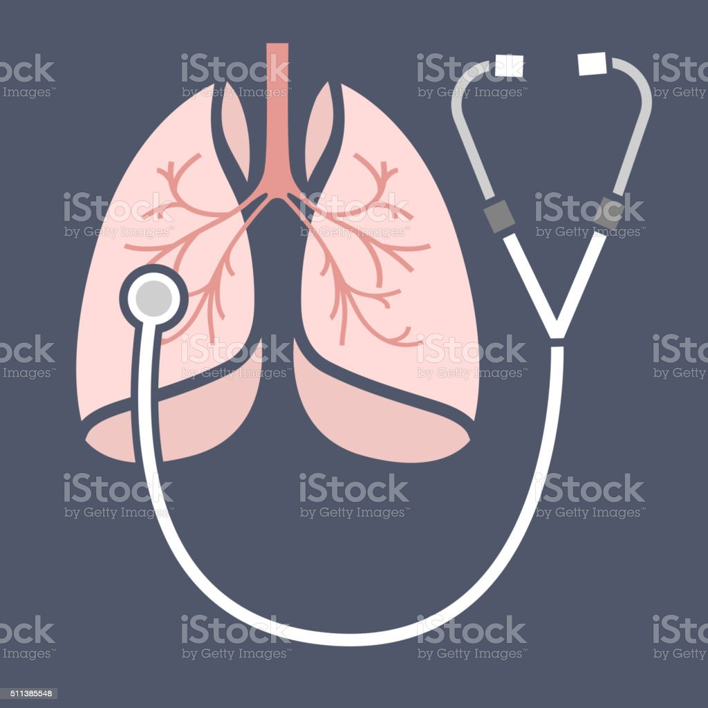 Stethoscope lungs Icon vector art illustration