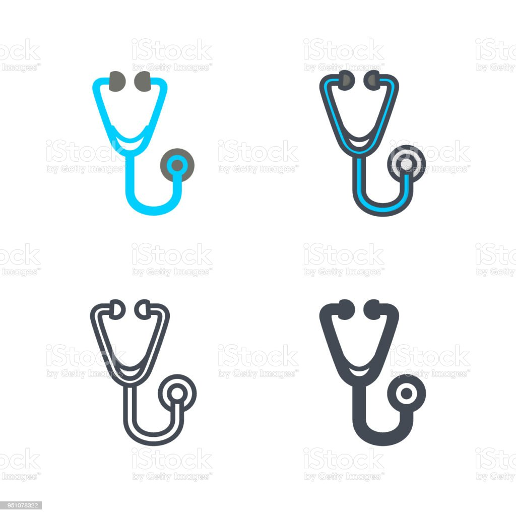 Stethoscope Medicine Vector Flat Line Silhouette Colored Icon Stock ...
