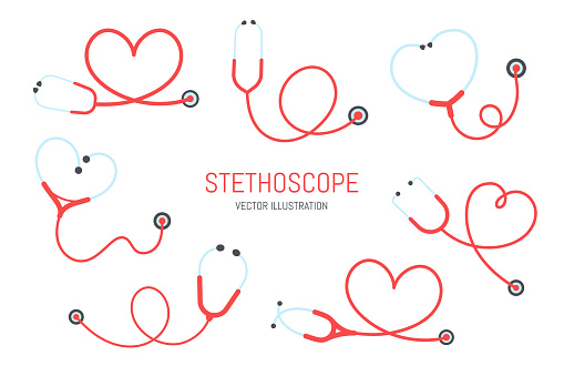 Stethoscope nurse. A medical stethoscope that curls into a heart shape Health care concept.