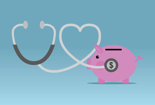 Stethoscope piggy bank financial Coin Bank, Piggy Bank, Currency, Healthcare And Medicine, Stethoscope budget designs stock illustrations