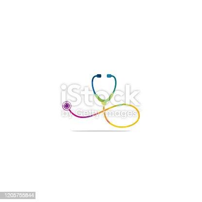 Medical logo concept. Stethoscope sign medical vector logo design.