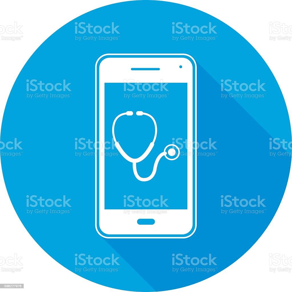 Stethoscope Smart Phone Round Icon ilustração de stethoscope smart phone round icon e mais banco de imagens de acidentes e desastres royalty-free