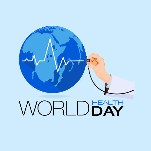 Stethoscope The world on light blue background, concept of world health day Stethoscope The world on light blue background, concept of world health day world health day stock illustrations
