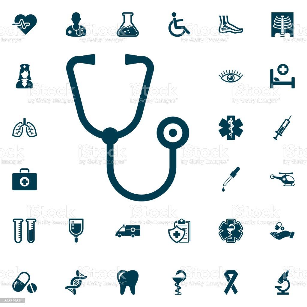 stéthoscope icône web, medical sur fond blanc. Illustration vectorielle de soins de santé - Illustration vectorielle