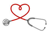 Stethoscope with a twisted cord in the shape of a heart