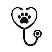 Stethoscope silhouette with animal paw print symbol. Veterinary medicine symbol, isolated vector illustration.