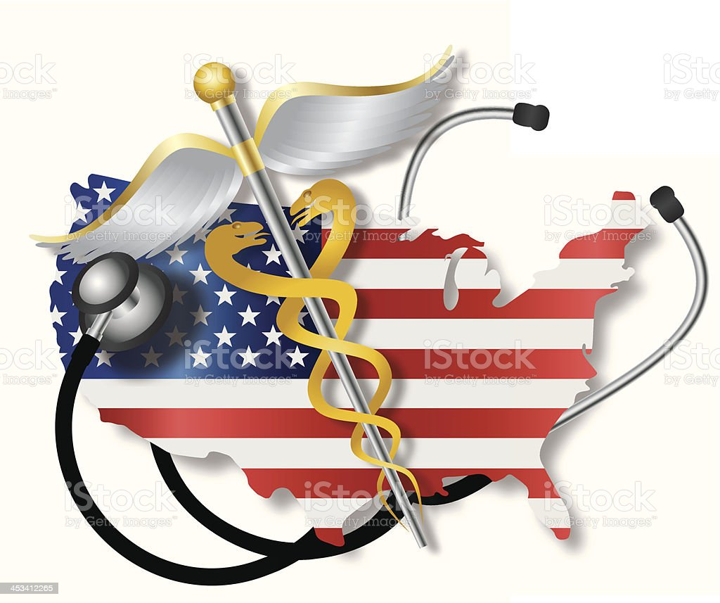 Stethoscope with USA Flag Map and Caduceus Vector Illustration Stethoscope Listening to USA Flag Country Map Heartbeat with Rod of Caduceus Medical Symbol on White Background Vector Illustration Abstract stock vector