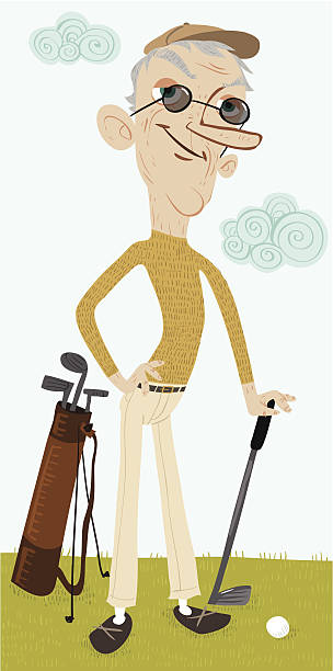 steve mcfry, golf guy - old man illustration pictures stock illustrations, clip art, cartoons, & icons