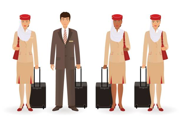 Stewardess and pilot muslim characters. Flying team real people standing in uniform with suitcases. Stewardess and pilot muslim characters staying on a white background. Flying team real people standing in uniform with suitcases. Vector illustration. flight suit stock illustrations