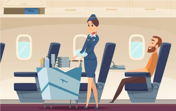 stockillustraties, clipart, cartoons en iconen met stewardess achtergrond. avia company personen staande in de luchthaven landschap vlieg piloten van vliegtuig vector cartoon illustratie - stewardess