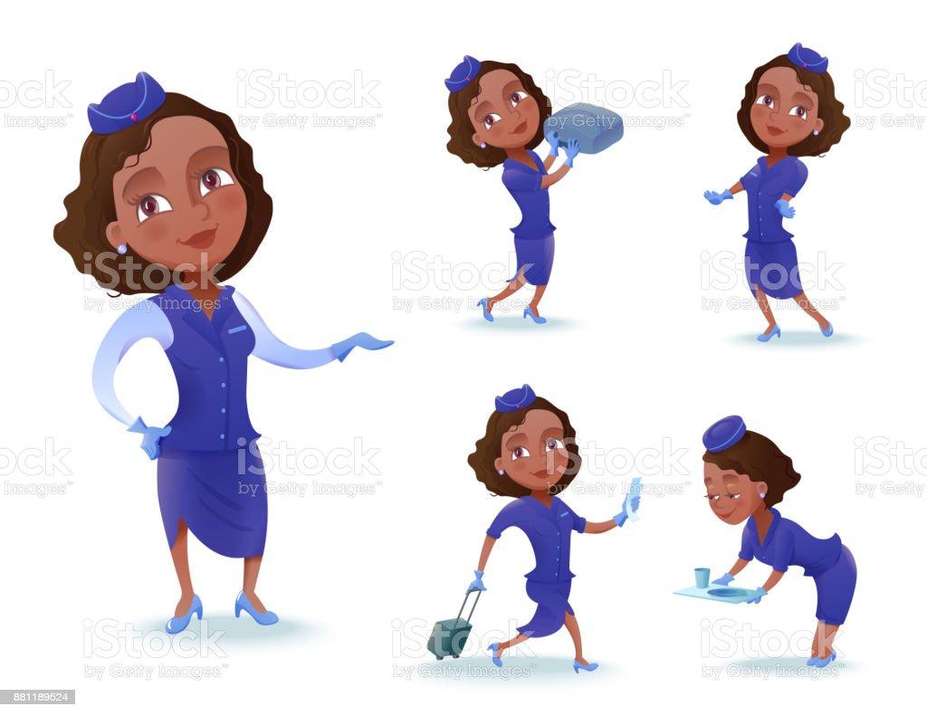La Jolie Fille De L Air hôtesse de lair cartoon caractère set compagnie aérienne