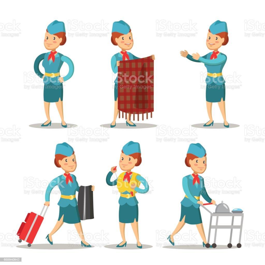 Stewardess Cartoon in Uniform. Air Hostess. Vector illustration vector art illustration