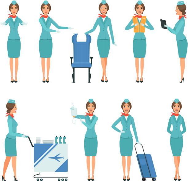stockillustraties, clipart, cartoons en iconen met stewardess tekens. verschillende mascottes in actie vormt. werknemers van de luchthaven en vlucht - stewardess
